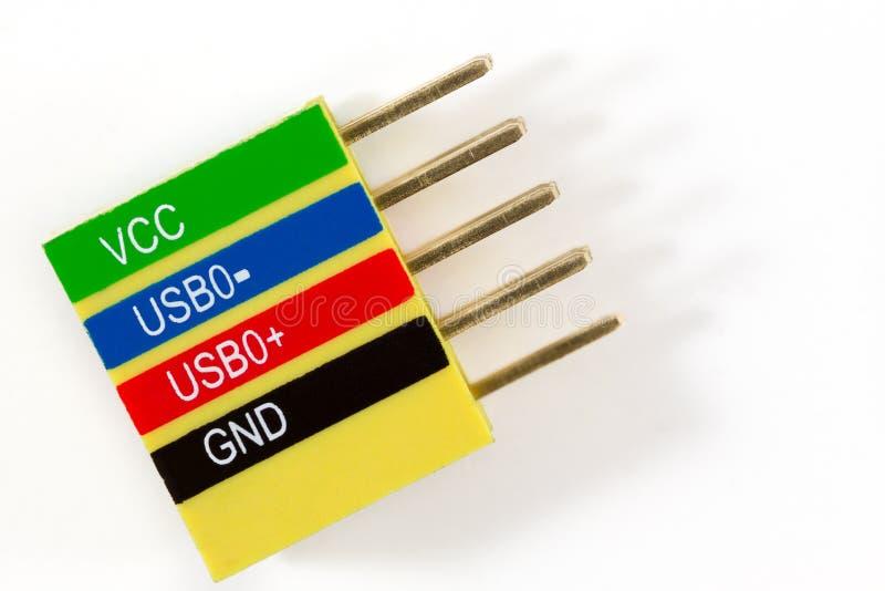 Färgrikt datormoderkortUSB kontaktdon på vit royaltyfri foto