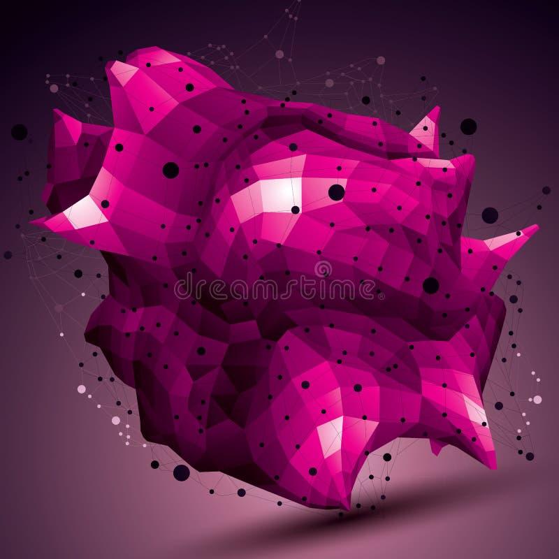 Färgrikt digitalt objekt för rumslig vektor, purpurfärgad fikonträd för teknologi 3d stock illustrationer