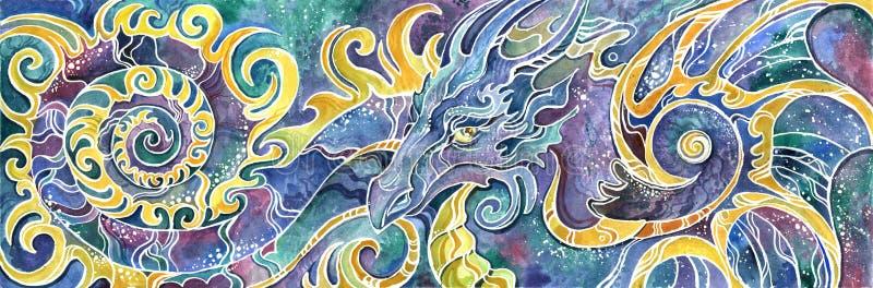 Färgrikt dragit för full uppsättning för drake för triptyk kinesiskt vektor illustrationer