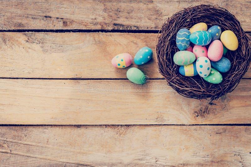 Färgrikt easter ägg i redet på wood bakgrund med utrymme royaltyfri foto