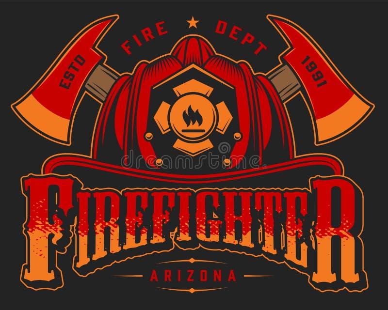 Färgrikt emblem för tappningbrandbekämpning stock illustrationer