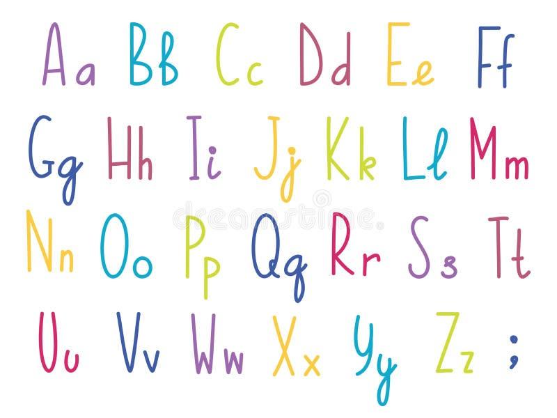 Färgrikt engelskt eller latinskt alfabet, gulligt och roligt, för barntema royaltyfri illustrationer
