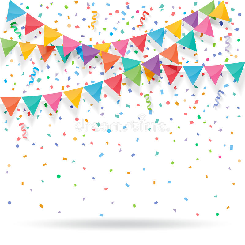 Färgrikt explodera konfettier med buntings och band royaltyfri illustrationer