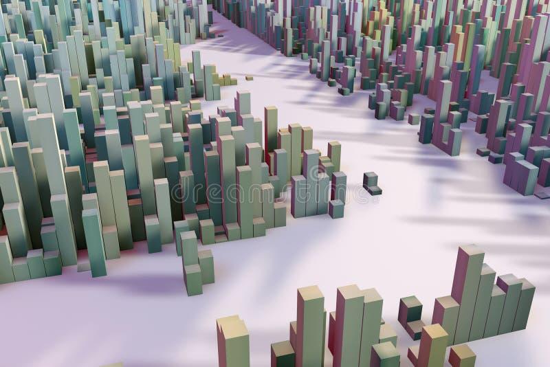 Färgrikt fält av kubkolonner som utgör den abstrakta enheten stock illustrationer