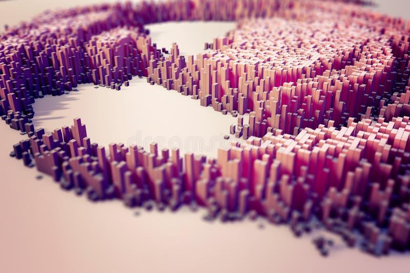 Färgrikt fält av kubkolonner som utgör den abstrakta enheten royaltyfri illustrationer