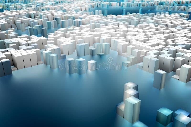 Färgrikt fält av kubkolonner som utgör den abstrakta enheten vektor illustrationer