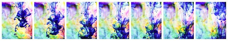 Färgrikt färgpulver bevattnar in ordnar arkivfoton