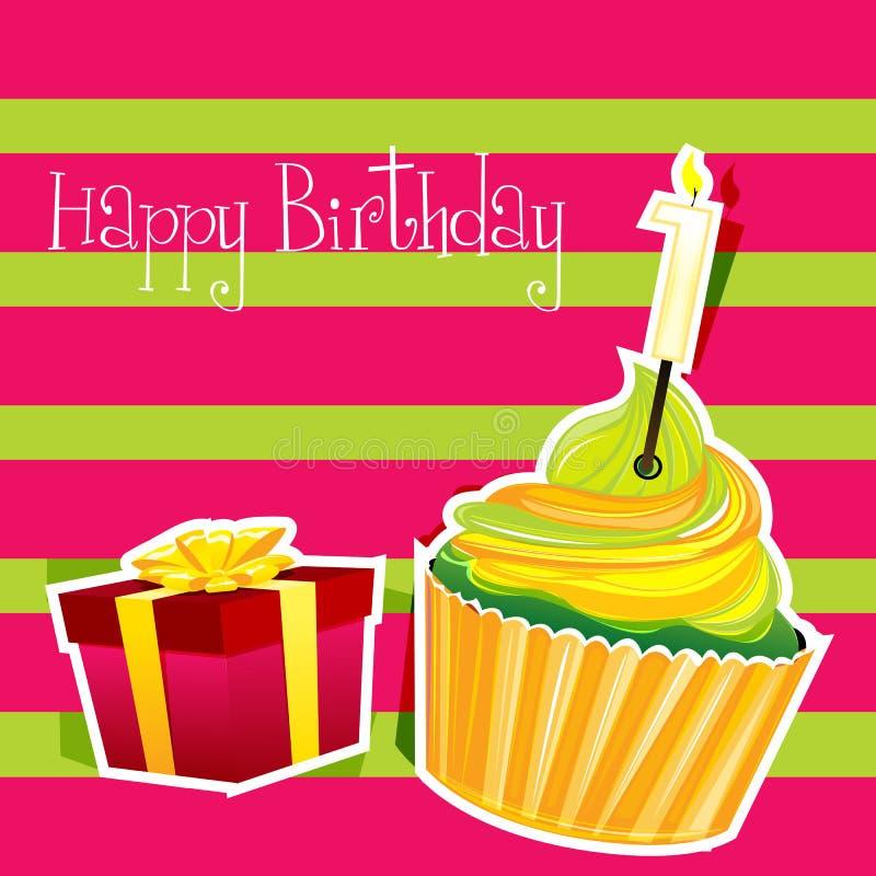 Färgrikt födelsedagkort royaltyfri illustrationer