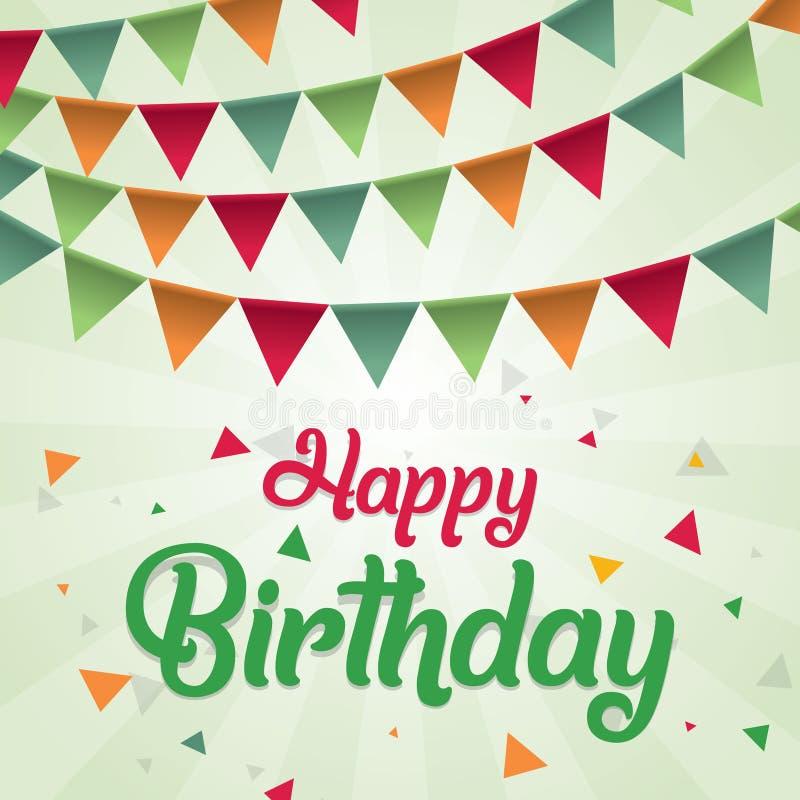 Färgrikt för vektordesign för lycklig födelsedag kort för hälsning med färgrika flaggor och geometriskt objekt royaltyfri illustrationer