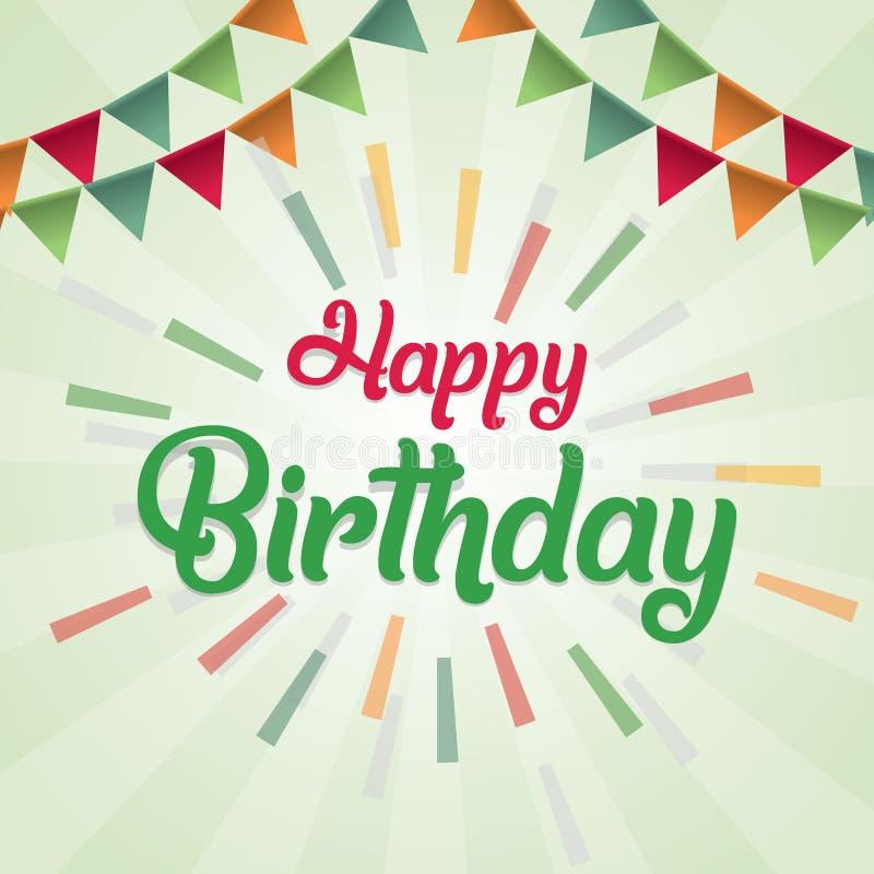 Färgrikt för vektordesign för lycklig födelsedag kort för hälsning med färgrika flaggor och geometriskt objekt vektor illustrationer