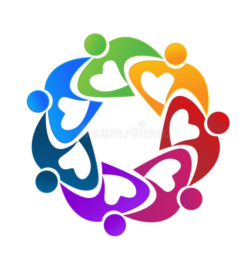 Färgrikt folk för teamwork som tillsammans arbetar stock illustrationer