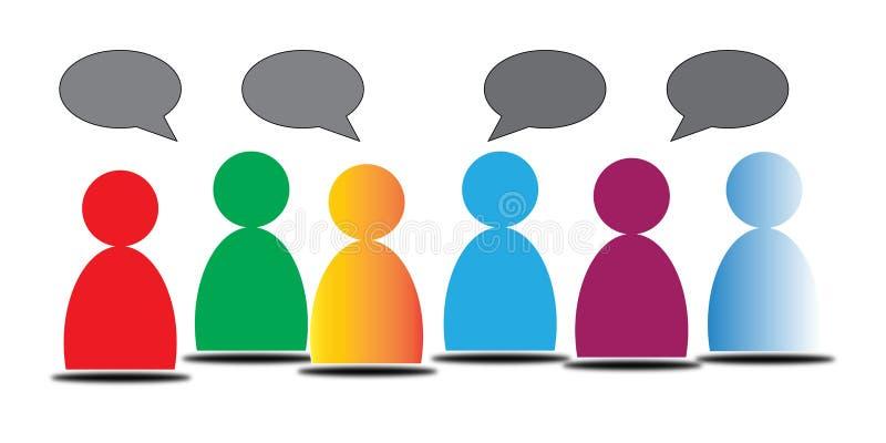 Färgrikt folk med konversationbubblor royaltyfri fotografi