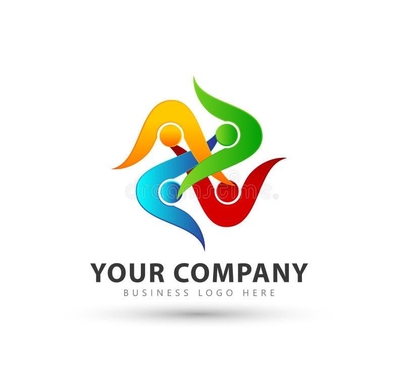 Färgrikt folk symbol för lag för fyra grupp ny moderiktig, logo stock illustrationer