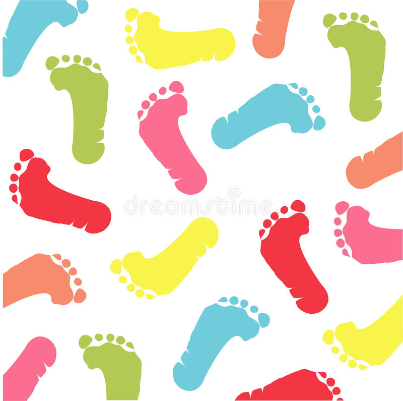 färgrikt fotspår stock illustrationer