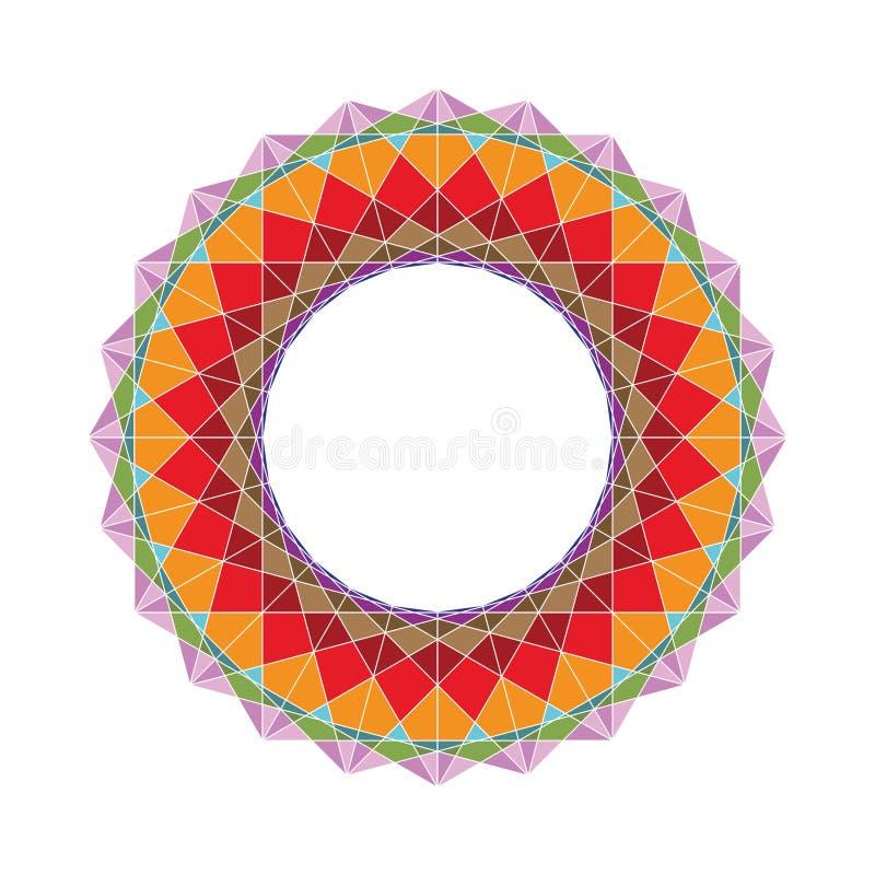 Färgrikt geometriskt diagram från sakrala geometribeståndsdelar stock illustrationer