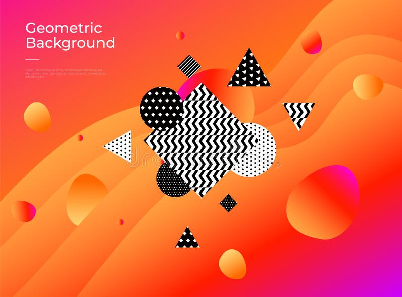 färgrikt geometriskt för abstrakt bakgrund Lutningen formar sammansättning stock illustrationer