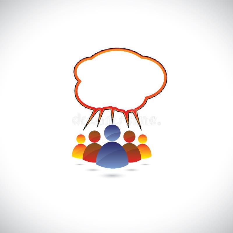 Färgrikt grafiskt av folk som pratar och att tala, comm vektor illustrationer