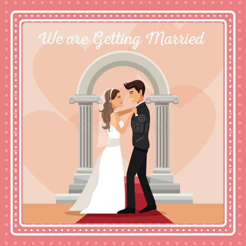 Färgrikt gretting kort med parbrudgummen och bruddanstext som vi får att gifta sig vektor illustrationer
