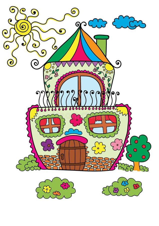 Färgrikt gulligt hus med solen och trädet royaltyfri illustrationer
