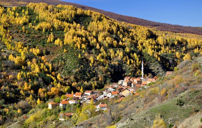 Färgrikt höstlandskap i bergbyn royaltyfri foto