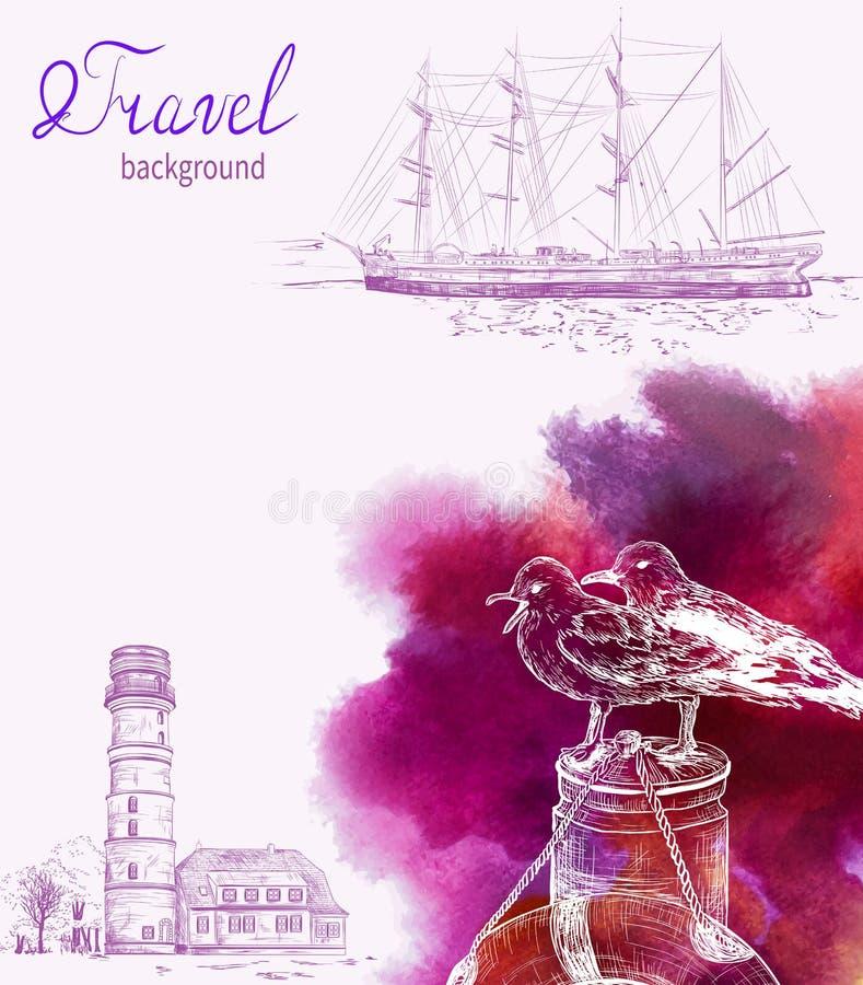 Färgrikt hav för lopp och nautisk bakgrund royaltyfri illustrationer