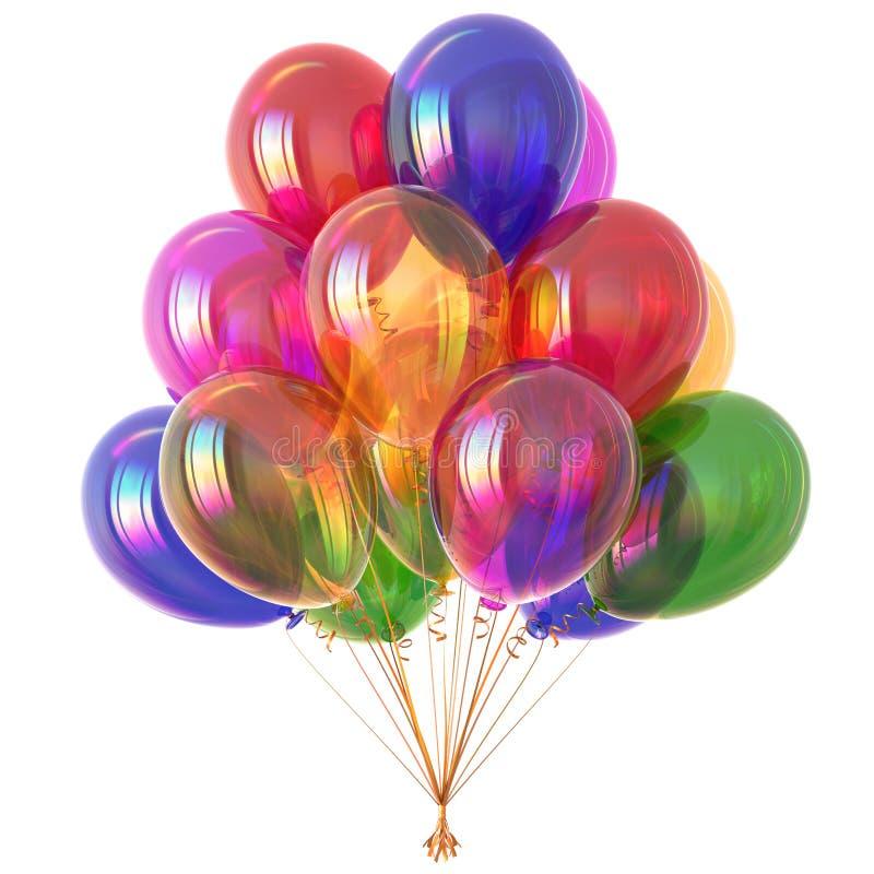 Färgrikt helium sväller den klassiska illustrationen 3D stock illustrationer