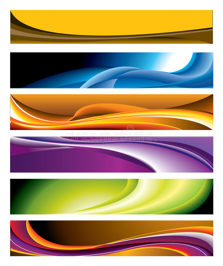 färgrikt horisontal för banersamling vektor illustrationer