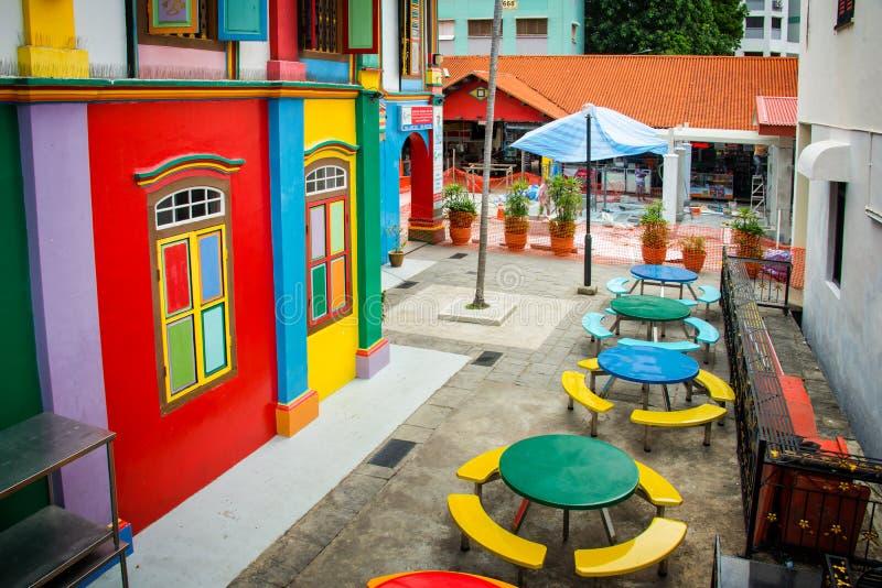 Färgrikt hus i lilla Indien, Singapore royaltyfria bilder