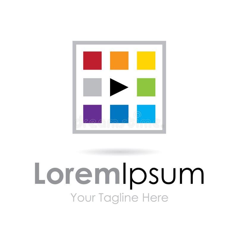 Färgrikt idérikt går logoen för symbolen för affären för lekknappen den enkla royaltyfri illustrationer