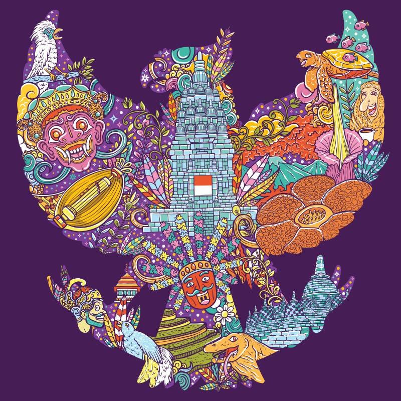 Färgrikt illustrationklotter av indonesia med garudapancasilaform stock illustrationer