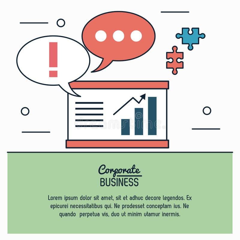 Färgrikt infographic av den företags affären med diagrammet av ekonomiskt växa och anförande bubblar och pusselstycken stock illustrationer