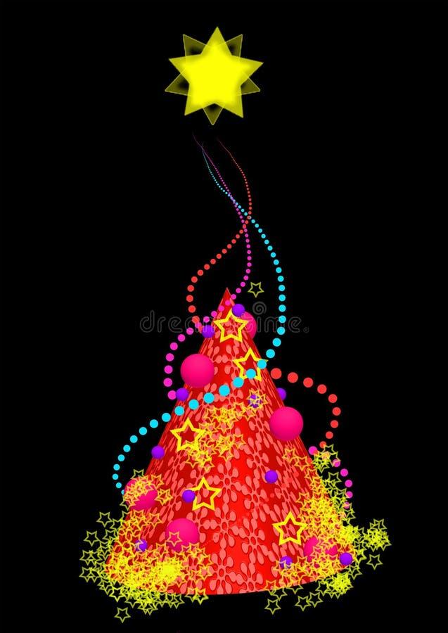 Färgrikt julträd, illustration arkivfoto