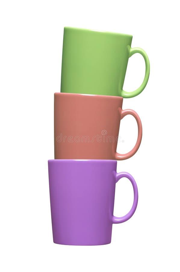 Färgrikt kaffe rånar på vit royaltyfri foto