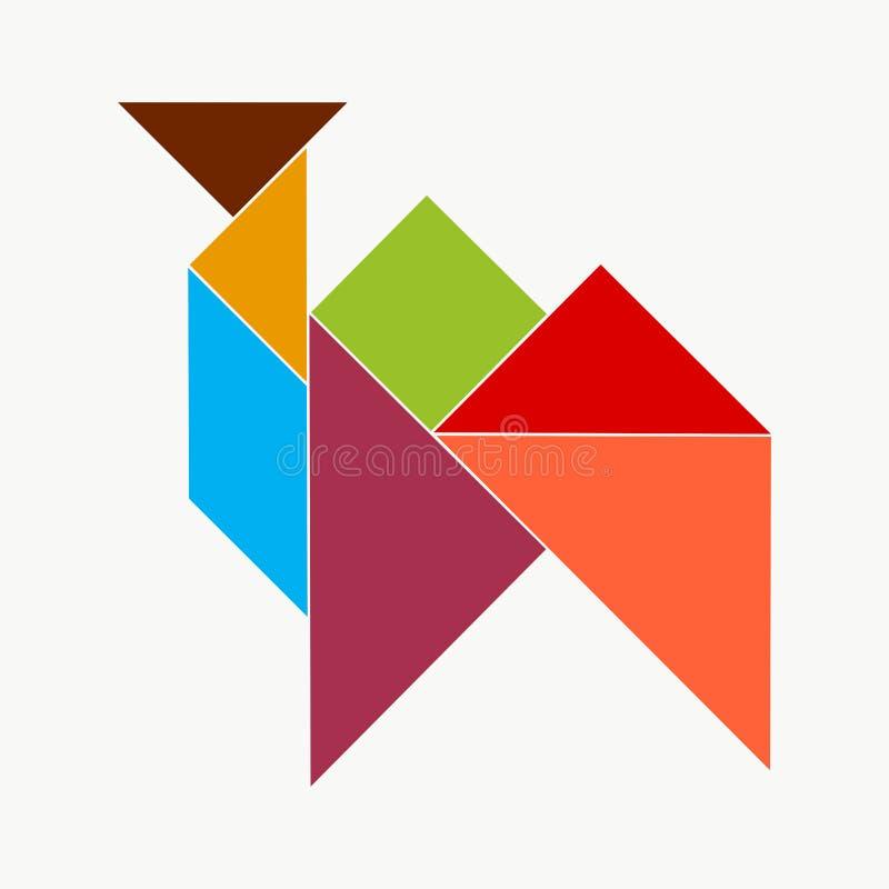 F?rgrikt kameldiagram fr?n tangrampusselstycken vektor illustrationer