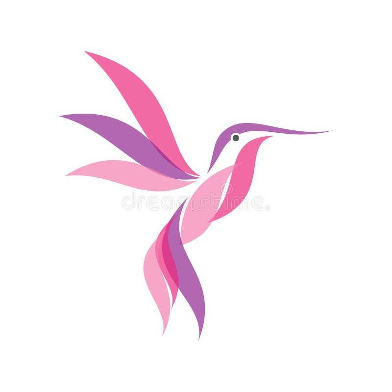 Färgrikt kolibrisymbolssymbol i modern plan stil stock illustrationer