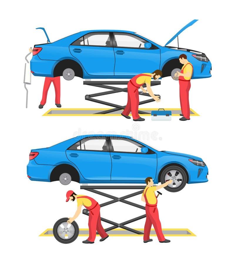 Färgrikt kort för däckmonterings- och bilgranskning stock illustrationer