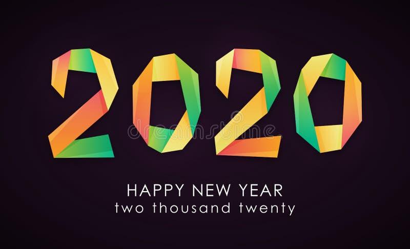Färgrikt kort för lyckligt nytt år 2020 vektor illustrationer
