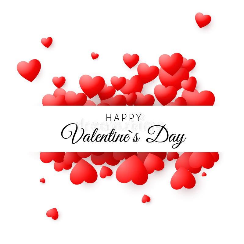 Färgrikt kort - lycklig valentindag Romantiskt begrepp för hälsningkort Bakgrund för valentindagvektor stock illustrationer