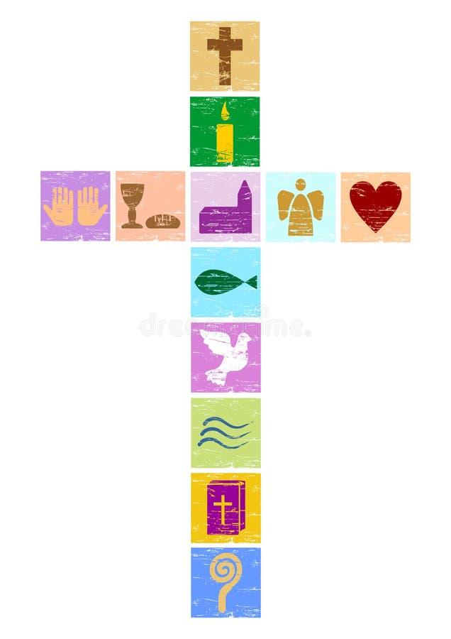Färgrikt kristenkors vektor illustrationer
