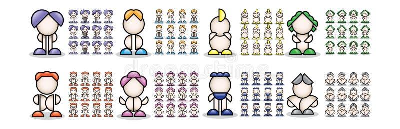 färgrikt litet folk 3d royaltyfri illustrationer