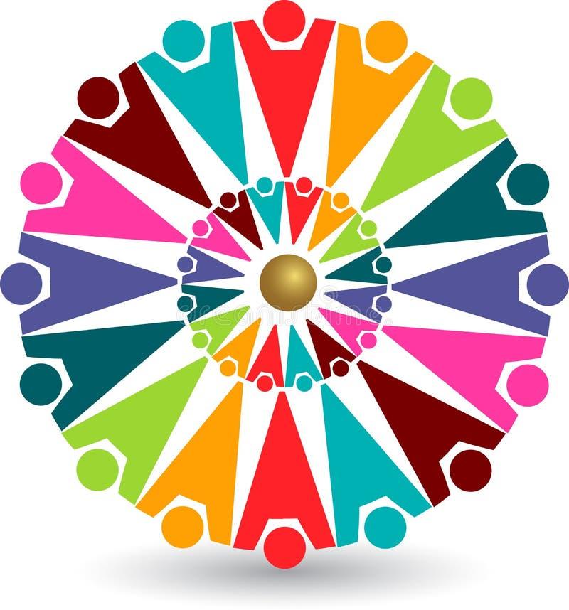färgrikt logofolk stock illustrationer