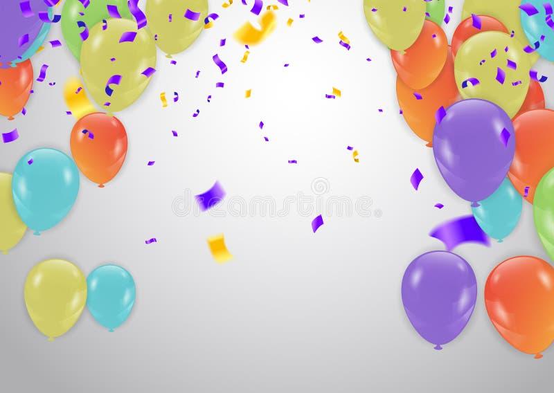 färgrikt lyckligt för födelsedag Meddelande med ballongen, konfetti och royaltyfri illustrationer