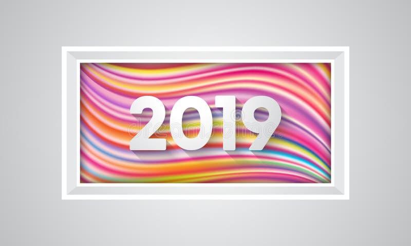 Färgrikt lyckligt nytt år 2019 stock illustrationer