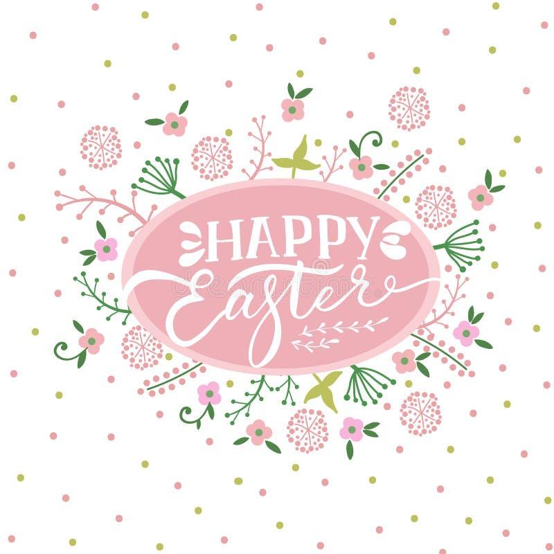 Färgrikt lyckligt påskhälsningkort med blommor vektor illustrationer