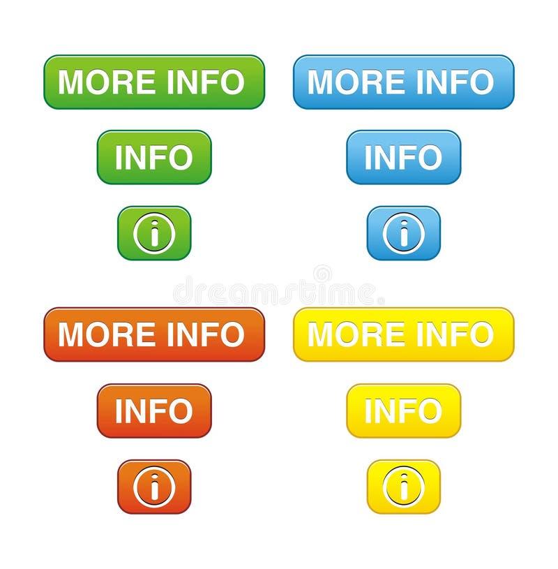 Färgrikt mer informationsknappuppsättningar vektor illustrationer