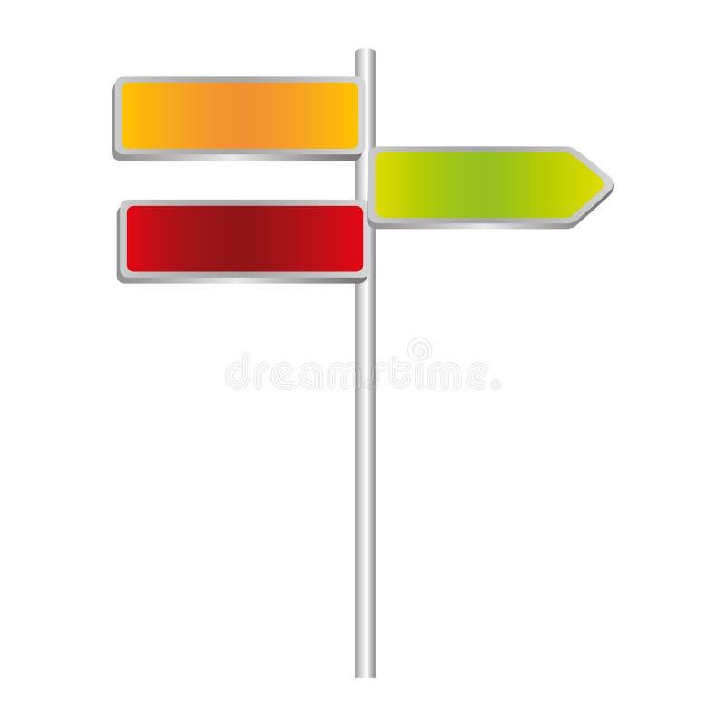 färgrikt metalliskt riktningsbräde och uppsättningteckenstolpe royaltyfri illustrationer