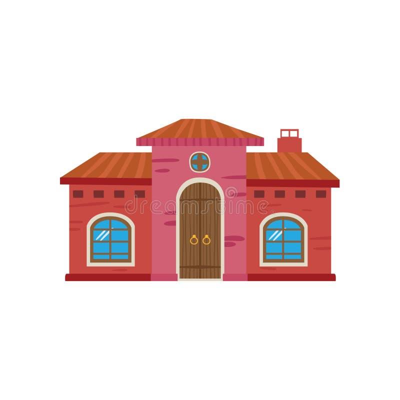 Färgrikt mexicanskt hus, Mexico - illustration för vektor för stadsfasadtecknad film royaltyfri illustrationer