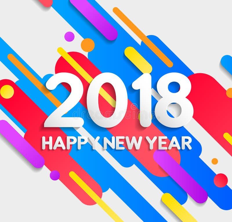 Färgrikt modernt beståndsdelkort för lyckligt nytt år 2018 royaltyfri illustrationer