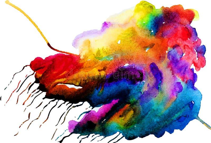 Färgrikt moln för vektorvattenfärg stock illustrationer