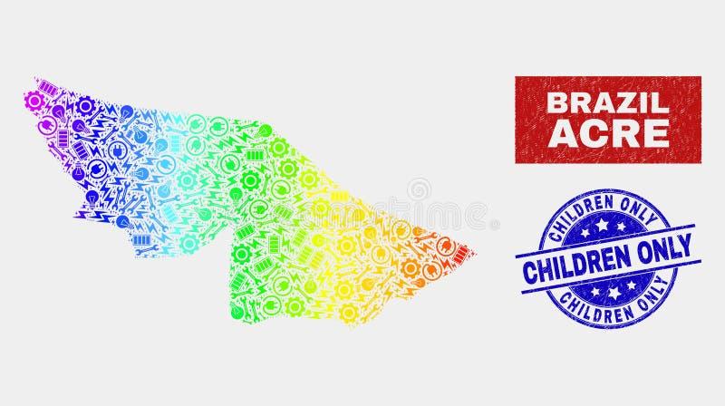 Färgrikt montera stämplar för barn för för tunnlandtillståndsöversikten och Grunge endast royaltyfri illustrationer